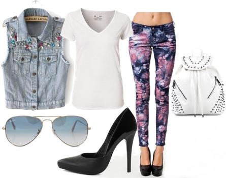 printed jeans with denim vest