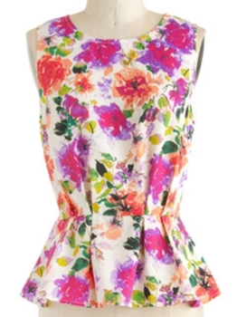 sleeveless floral peplum top for work