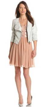 Asymmetrical zip moto jacket with dress