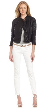 Black moto jacket with white jeans