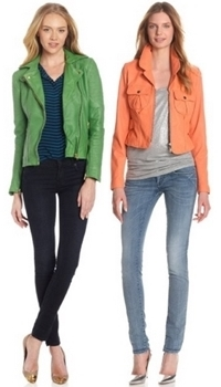 Bright moto jacket with skinny jeans