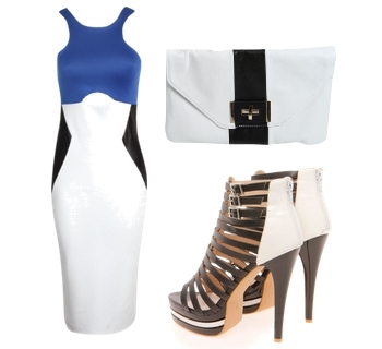Colour Block Cut Out Bodycon Midi Dress