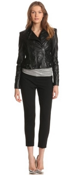 Cropped moto jacket with capris