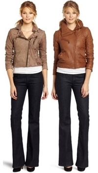 Cropped moto jacket with flared jeans