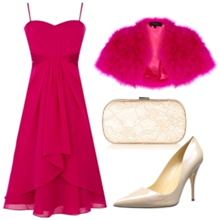 Fuchsia bandeau dress with fuchsia bolero