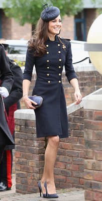 Kate Middleton Blue Navy Military Coat Alexander McQueen