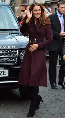 Kate Middleton eggplant-purple coat