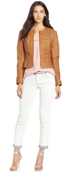 Natural tan leather jacket