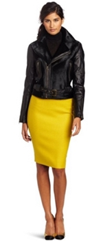 black moto jacket with bright skirt
