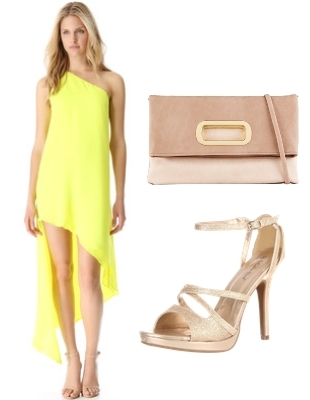 citron dress with nude accessory