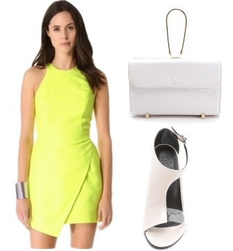 citron dress with white accessory