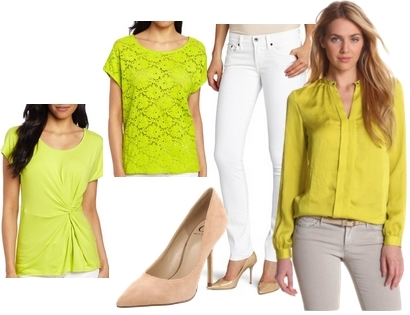 citron top with white jeans