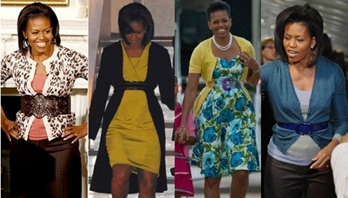 michelle obama belt over cardigan