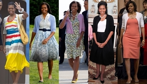 michelle obama cardigan over dress
