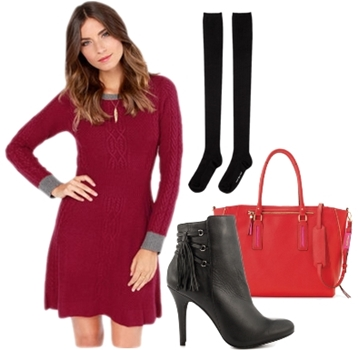 A-Line Sweater Dress in Red