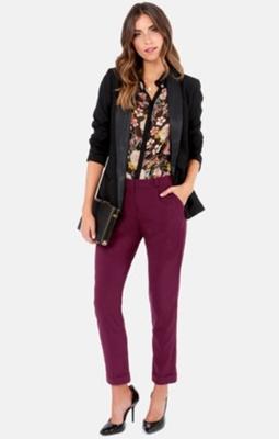 Black Blazer and Burgundy Pants