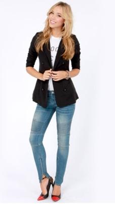 Black Blazer and Jeans