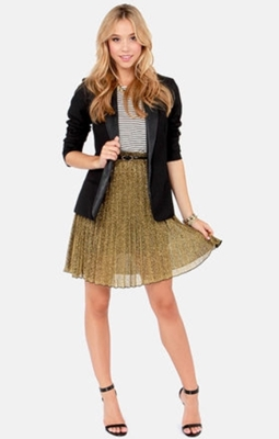 Black Blazer and Pleated Gold Skirt