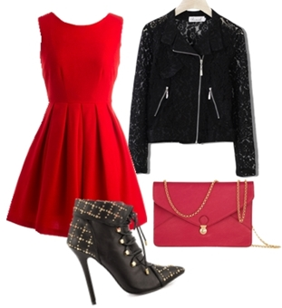 Black Jacket and Red Flare Dress