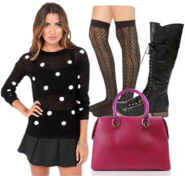 Black Knee High Lace Up Boots Outfit
