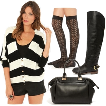Black Over the Knee Flat Boots Outfit