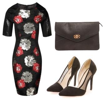 Brocade Rose Body Con Dress