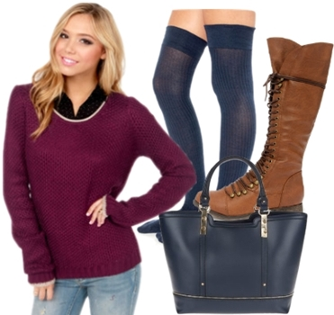 Brown Knee High Lace Up Boots Outfit