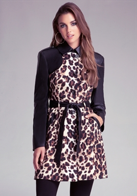 Colorblock Leopard Trench Coat