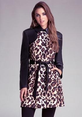 Colorblock Leopard Trench Coat