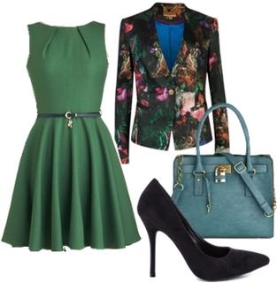 Green Ladylike Flare Dress