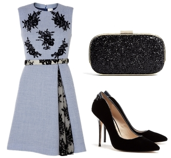 Huishan Zhang Sleeveless Wool And Lace Dress