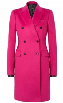 Joseph Fuchsia Double Breasted Wool Coat