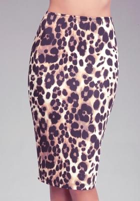 Leopard Scuba Knit Midi Skirt