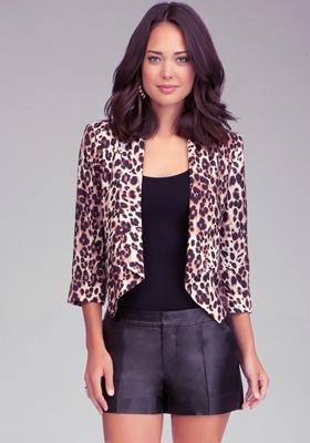 Leopard Shawl Collar Blazer