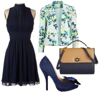Navy Blue Drape Party Dress