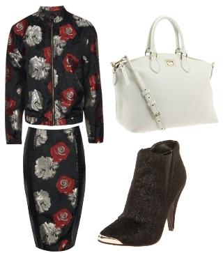 Rose Brocade Bomber Jacket and Pencil Skirt