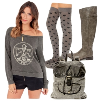 Taupe Knee High Riding Boots Fall Outfit
