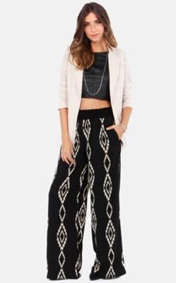 White Blazer and Tribal Print Pants
