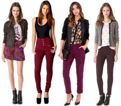 how to wear wine colored pants and shorts