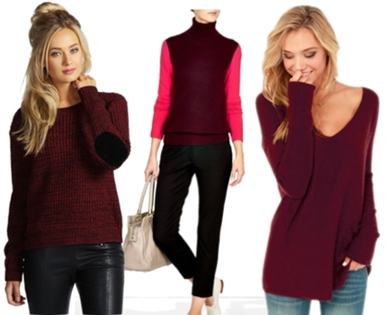 how to wear wine colored sweaters