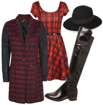 tartan coat over tartan dress