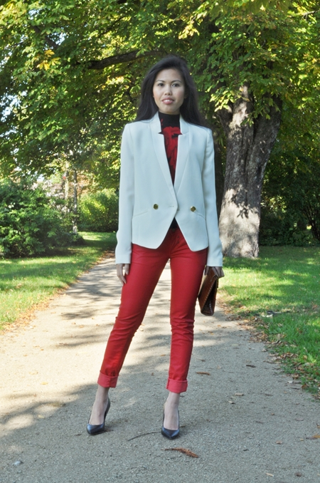 white jacket and red colored jeans for fall