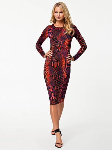 Ax Paris Snake Skin Print Midi Dress