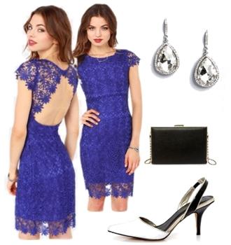 Backless Royal Blue Lace Dress