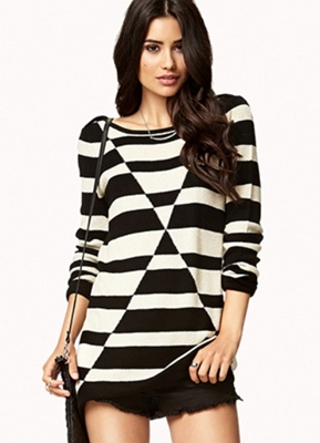 Contrast Geo Sweater Tunic