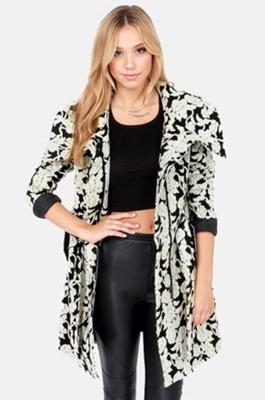 Grey and Black Floral Print Coat