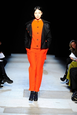 black jacket with tangerine