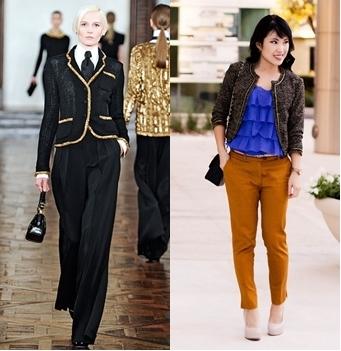go glamorous with tweed jacket