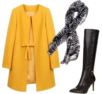 zebra print scarf and yellow  coat