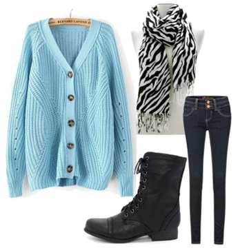 zebra scarf and colored cardigan